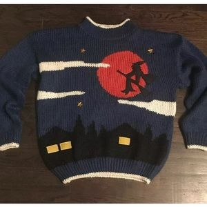 Sweaters - Ugly Halloween Sweater Pullover Med Witch Moon